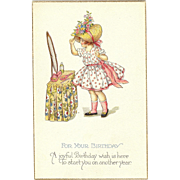 A Joyful Birthday Stetcher Series 980 D Spring time Girl in dress and bonnet