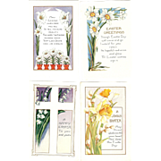 Lot of 4 Vintage Whitney Easter Postcards Lily Daffodils