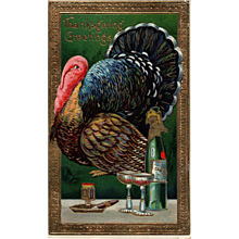 Absolutely Stunning Gel Thanksgiving Vintage Postcard Samson Brothers Series 7013