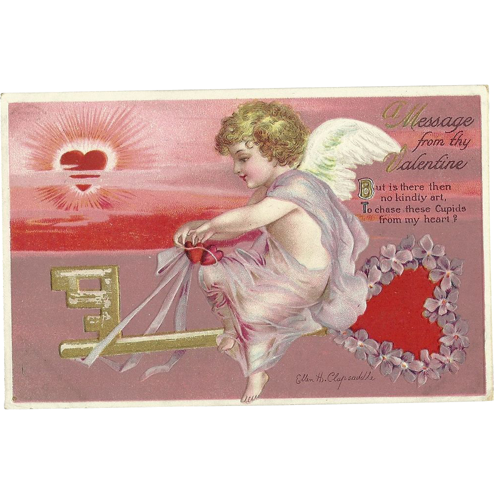 Signed Ellen Clapsaddle Vintage Valentine Series 4235 Postcard Girl On heart Key