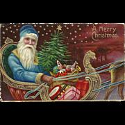 Bright Blue Robed Blue Eyed Santa Claus Sleigh Presents Glossy PFB Postcard