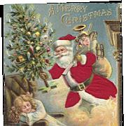 Red Robed Santa Chimney Christmas Tree Little Girl Silk Embossed Postcard