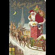 Red Robed Santa Claus Chimney Reindeer Sleigh Roof Top Silk Embossed Postcard
