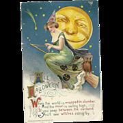 Artist Signed Samuel Schmucker John Winsch Halloween Postcard Witch on Broom Full Moon