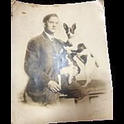 Set of 2 Original Real Photo Barnum and Bailey Dog trainer & Daisy
