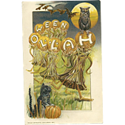 1914 Samuel Schmucker Artist Sign Halloween Postcard Black Cat & Owl
