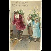 Santa Claus Vibrant Red Velvet Robe Children Silk Embossed Postcard