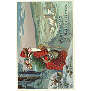 Red Robed Santa Claus Toy bag Cane Village Embossed Postcard