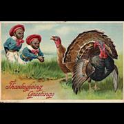 1907 Black Americana Vintage Thanksgiving Postcard