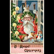 Charming old World style Santa Claus Christmas postcard