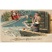 Stunning John Winsch 1913 Vintage Christmas Postcard with Santa Flying an Airplane