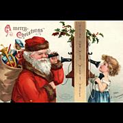 Classic Collectible Signed Ellen Clapsaddle Santa Claus Christmas postcard