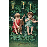 Two angels playing string instruments base violin viola