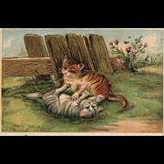 1900's Vintage Cat Kitten playing Gold gilt embossed  #220 Postcard
