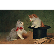 Lovely Artist depiction of two cats Kittens one in a top hat Vintage Postcard