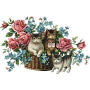 Early Series 734 vintage postcard featuring cats in a basket of roses and Forget Me Nots