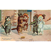 """""""We Won't Go Home Until Morning"""" is the title on this signed Boulanger vintage Cat postcard"""