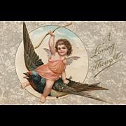 Wonderful vintage Valentine postcard featuring cupid riding a bird