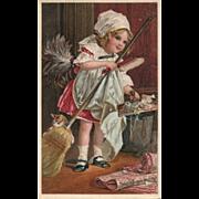 Beautiful girl cleaning with her Kitten Cat Advertising Ephemera Metropolitan Life Insurance CO