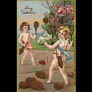 Gold Gilt Gel Cupids Badminton with hearts vintage Postcard