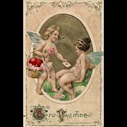 Vintage John Winsch 1911 Valentine Postcard Cupid and Fairy