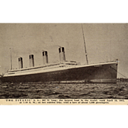 Rare Early 1900's Titanic Ship Commemorative Memorial Vintage Postcard Salesman Sample