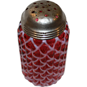 Vintage Cranberry Glass Sugar Shaker With Ribbed Lattice by Northwood