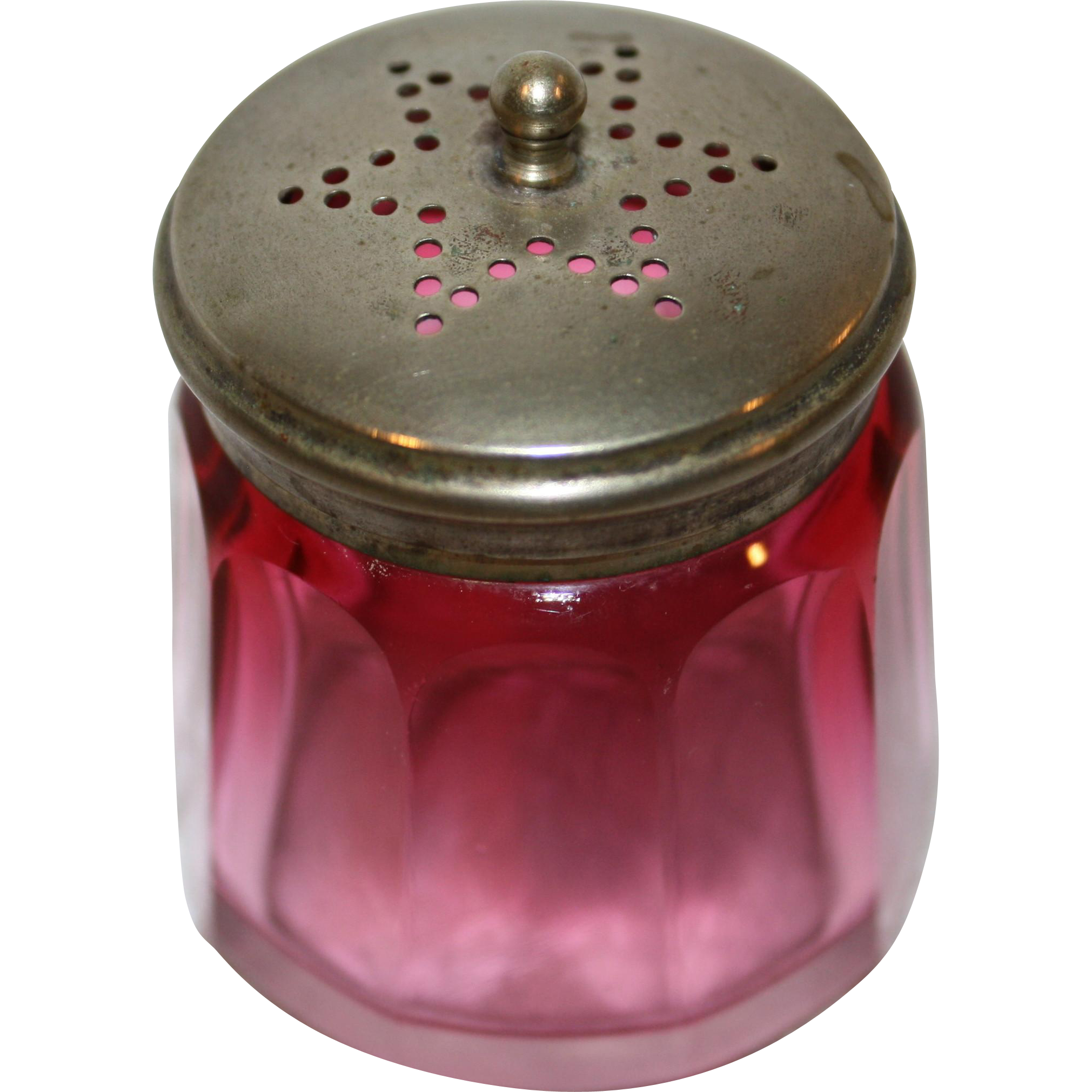 "Small 2"" Sugar- Salt Vintage Cranberry Shaker with star pattern top"