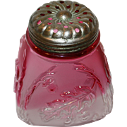 "4"" Northwood Sugar Shaker Muffineer with Cranberry Fade Royal Oak Leaf Pattern"