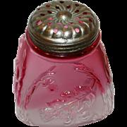 "4"" Northwood Sugar Shaker Muffineer with Cranberry Fade Royal Oak Leaf Pattern"