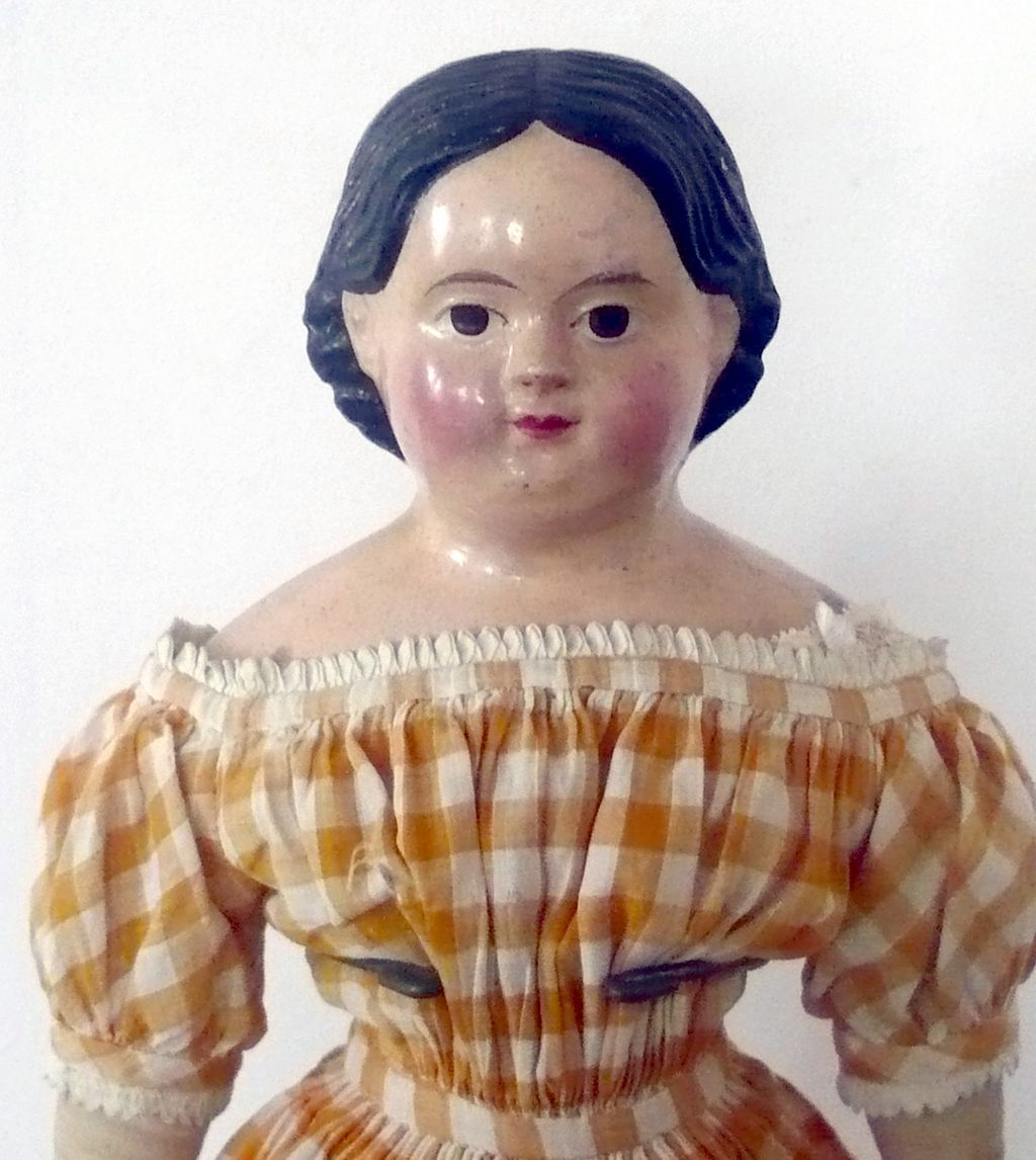 "19"" 1850's Papier-mache Brown Eyes Original Body Dress"