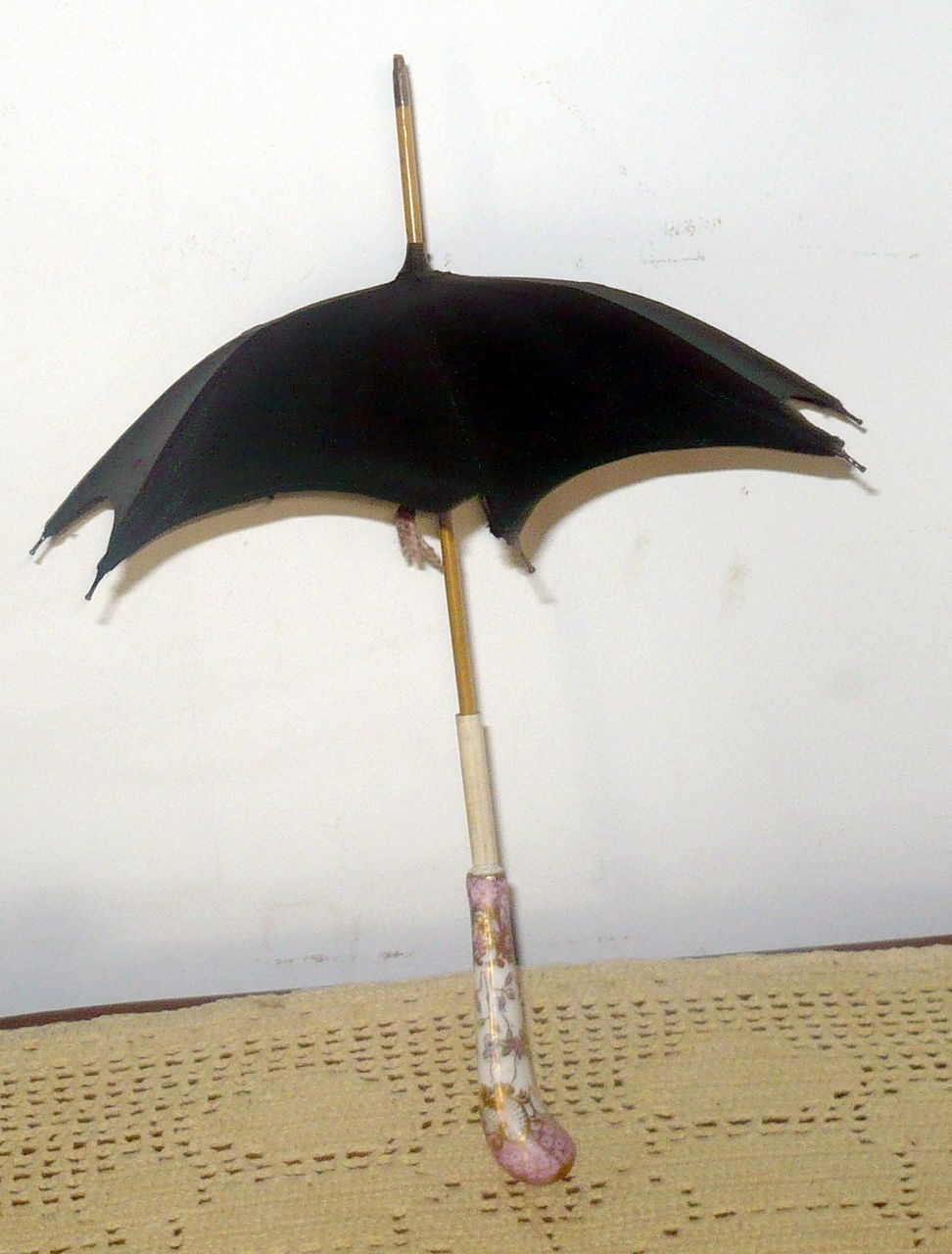 "Fine Antique 12"" Doll Umbrella & Sheath Enameled China Handle"