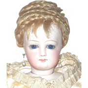 Early Pale 15 Inch French Fashion Cobalt Eyes Shapely Kid Body Original Wig