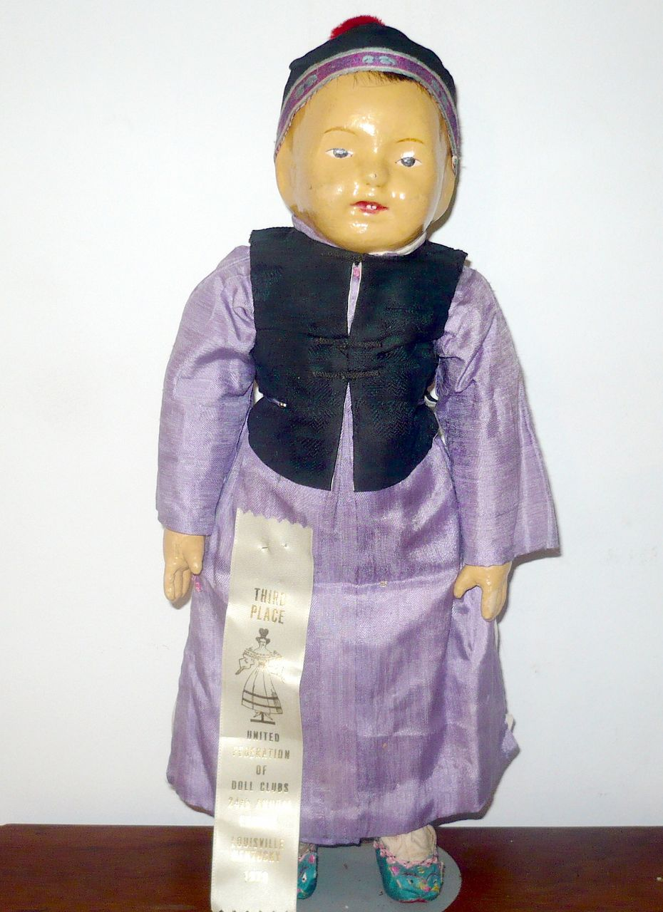 """Scarce 16""""/17"""" Painted Stockinette 5 Finger Ching School Boy"""