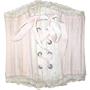 "10"" Boned Pale Pink Linen Contoured Bebe Corset Ivory Trim Grommets"
