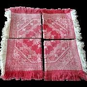 4 Turkey Red & Ivory  Floral Pattern Damask Napkins Fringe Heart Border