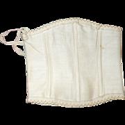 19th C Boned Ivory Linen 5 Grommet  Bebe Corset