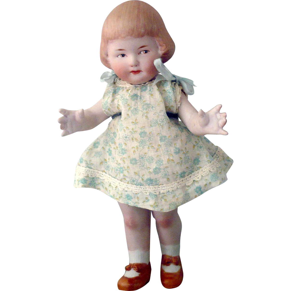 "8.5"" Heubach AB Girl Bobbed Hair Bangs Intaglio Eyes Factory Costume"
