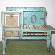 Doll Size Blue Finished Cast Iron Kent Stove Oven Doors Open