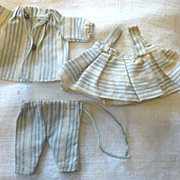 Old  Blue & Ivory Stripe Linen 3 Piece Costume for All Bisque