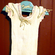 Old Ivory Ribbed Knit Cotton Camisole Threaded Tape  Neck