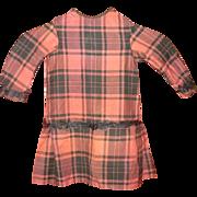 19th C Pumpkin & Black Plaid Homespun Hand Sewn Dress