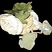 Old White & Green  Rose Flower Trims for Bebe Hats