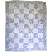 1920-30 Blue & White Pieced Linen Hand Stitched Doll Quilt
