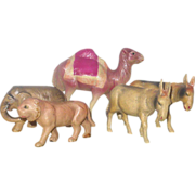 5 Celluloid 1920's Japan Toy Animals
