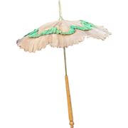 19th C Brown Linen  w Green Ruching Wood Handle Parasol