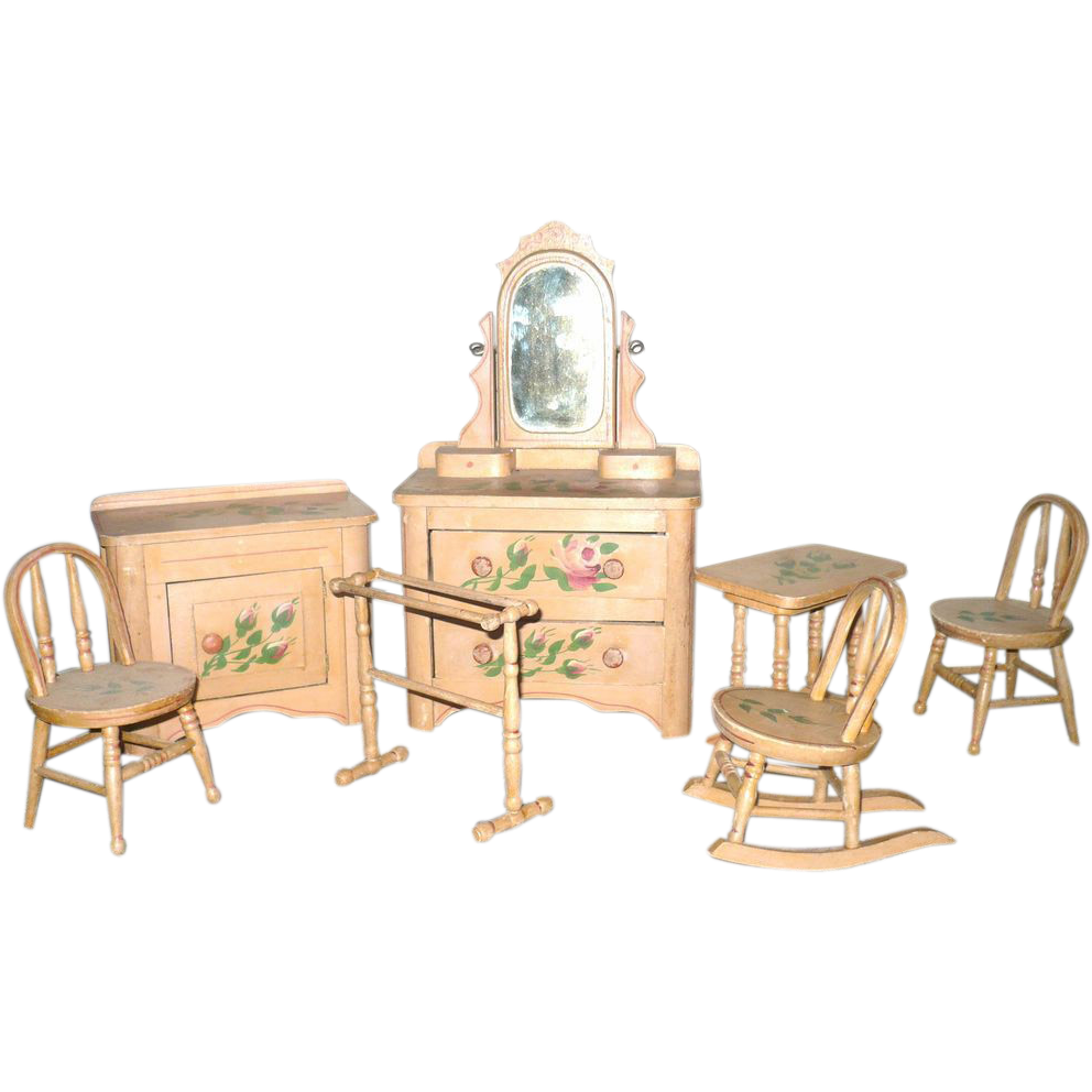Victorian 8 piece painted cottage doll bedroom furniture for A piece of furniture