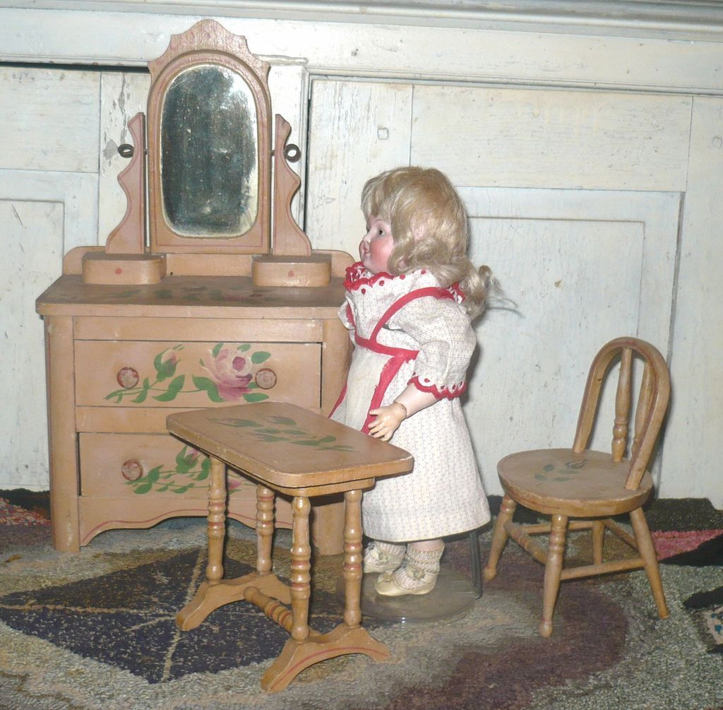 painted cottage furnitureVictorian 8 Piece Painted Cottage Doll Bedroom Furniture Set from