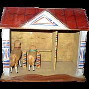 Little German Red Roof Sheep Barn & 2 Woolly Sheep