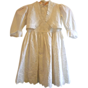 19th Century Ivory Linen Broderie Anglaise Girl's Dress